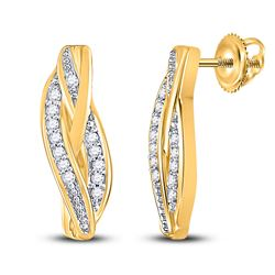 1/20 CTW Womens Round Diamond Vertical Bar Earrings 10kt Yellow Gold - REF-12V2Y