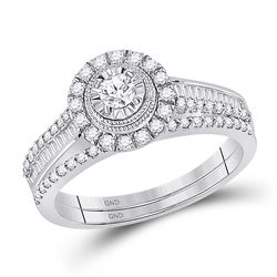 5/8 CTW Round Diamond Bridal Wedding Ring Band Set 10kt White Gold - REF-67N4A