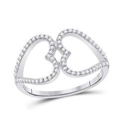 1/5 CTW Womens Round Diamond Negative Space Heart Ring 10kt White Gold - REF-20T5V