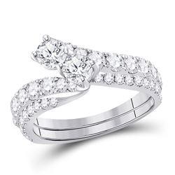 1 & 1/2 CTW Round Diamond Bridal Wedding Ring 14kt White Gold - REF-180W7H
