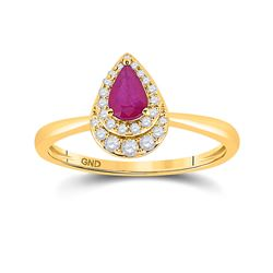 3/4 CTW Womens Pear Ruby Diamond Halo Solitaire Ring 14kt Yellow Gold - REF-30W7H