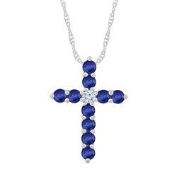 7/8 CTW Womens Round Lab-Created Blue Sapphire Cross Pendant 10kt White Gold - REF-15R2X