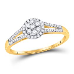 1/5 CTW Womens Round Diamond Flower Cluster Ring 10kt Yellow Gold - REF-17X6T