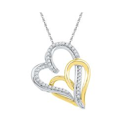 1/6 CTW Womens Round Diamond Two-tone Double Joined Hearts Pendant 10kt White Gold - REF-13H5R