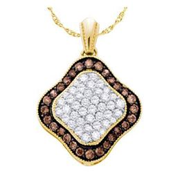 1 CTW Womens Round Brown Diamond Square Cluster Pendant 10kt Yellow Gold - REF-27H3R