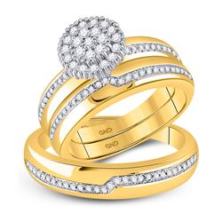 1/2 CTW His Hers Round Diamond Cluster Matching Wedding Set 10kt Yellow Gold - REF-51V8Y