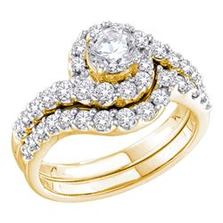 1 & 3/8 CTW Round Diamond Bridal Wedding Ring 14kt Yellow Gold - REF-201N2A