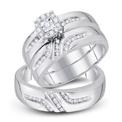 1/3 CTW His Hers Round Diamond Solitaire Matching Wedding Set 10kt White Gold - REF-40A8M