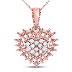 1/8 CTW Womens Round Diamond Heart Pendant 10kt Rose Gold - REF-17A6M