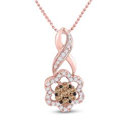 1/2 CTW Womens Round Brown Diamond Flower Cluster Pendant 14kt Rose Gold - REF-43N5A