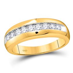 1/2 CTW Mens Round Diamond Wedding Single Row Band Ring 10kt Yellow Gold - REF-55W3H