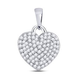 3/8 CTW Womens Round Diamond Fashion Heart Pendant 10kt White Gold - REF-28R5X
