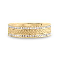 1/3 CTW Mens Round Diamond Wedding Brick Band Ring 14kt Yellow Gold - REF-74H9R