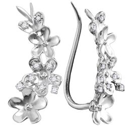 1/10 CTW Womens Round Diamond Floral Climber Earrings 10kt White Gold - REF-13W2H