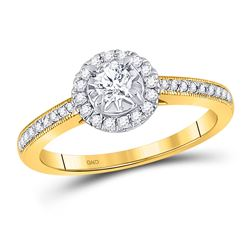 3/8 CTW Round Diamond Solitaire Bridal Wedding Engagement Ring 14kt Yellow Gold - REF-58R2X
