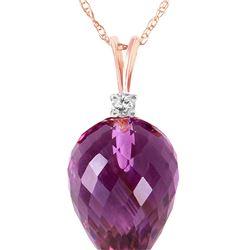 Genuine 9.55 ctw Amethyst & Diamond Necklace 14KT Rose Gold - REF-25F3Z