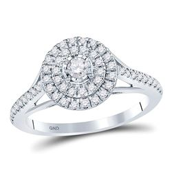 1/2 CTW Round Diamond Solitaire Bridal Wedding Engagement Ring 10kt White Gold - REF-47A6M