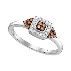 1/5 CTW Womens Round Brown Diamond Square Cluster Ring 10kt White Gold - REF-18N5A