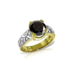 Genuine 3.7 ctw Black & White Diamond Ring 14KT Yellow Gold - REF-219N2R