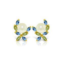 Genuine 3.25 ctw Blue Topaz & Peridot Earrings 14KT Yellow Gold - REF-30M2T