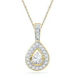 1/3 CTW Womens Round Diamond Teardrop Pendant 10kt Yellow Gold - REF-29M9F