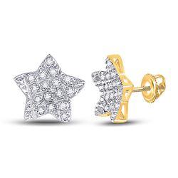 1/10 CTW Mens Round Diamond Star Earrings 10kt Yellow Gold - REF-10R9X