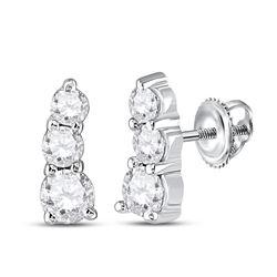 1/4 CTW Womens Round Diamond 3-stone Earrings 10kt White Gold - REF-24R5X