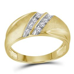 1/4 CTW Mens Round Diamond Wedding Double Row Band Ring 10kt Yellow Gold - REF-25F9W