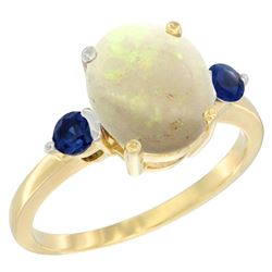 1.65 CTW Opal & Blue Sapphire Ring 10K Yellow Gold - REF-24M2A