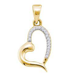 1/20 CTW Womens Round Diamond Heart Pendant 10kt Yellow Gold - REF-7R4X