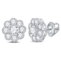 1 CTW Womens Round Diamond Flower Cluster Stud Earrings 14kt White Gold - REF-102F2W
