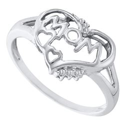 1/20 CTW Womens Round Diamond Heart Mom Mother Ring 10kt White Gold - REF-11H6R