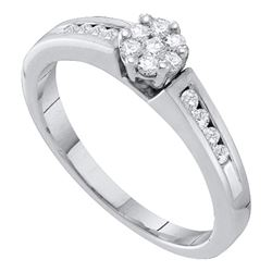 1/4 CTW Womens Round Diamond Flower Cluster Ring 10kt White Gold - REF-31M9F