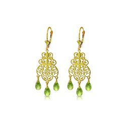 Genuine 3.75 ctw Peridot Earrings 14KT Yellow Gold - REF-58X3M