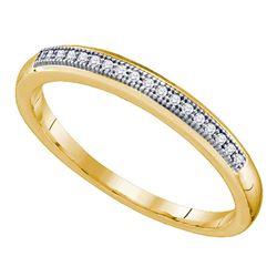 1/20 CTW Womens Round Diamond Bridal Wedding Anniversary Band Ring 10k Yellow Gold - REF-14H2R