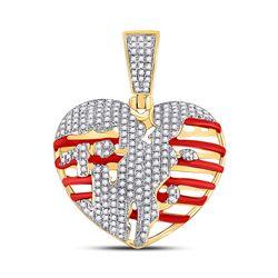 5/8 CTW Mens Round Diamond Heart Charm Pendant 10kt Yellow Gold - REF-53N3A
