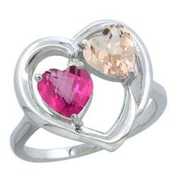1.91 CTW Diamond, Pink Topaz & Morganite Ring 14K White Gold - REF-36M6A