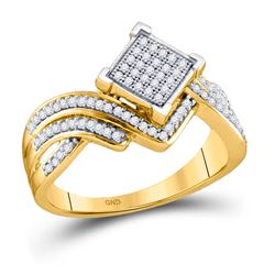1/3 CTW Womens Round Diamond Offset Square Cluster Ring 10kt Yellow Gold - REF-28W5H