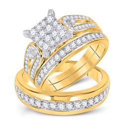 1 & 1/5 CTW His Hers Round Diamond Square Matching Wedding Set 14kt Yellow Gold - REF-109H3R