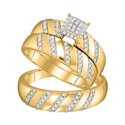 1/2 CTW His Hers Round Diamond Cluster Matching Wedding Set 10kt Yellow Gold - REF-45H2R