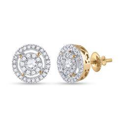 1/2 CTW Womens Round Diamond Cluster Earrings 14kt Yellow Gold - REF-54T5V