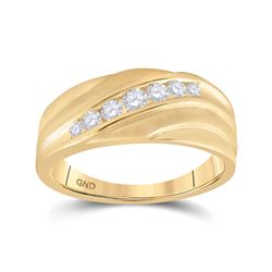 1/2 CTW Mens Round Diamond Diagonal Wedding Band Ring 10kt Yellow Gold - REF-54X5T