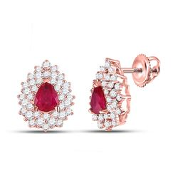 1 & 1/2 CTW Womens Pear Ruby Diamond Fashion Earrings 14kt Rose Gold - REF-79H2R