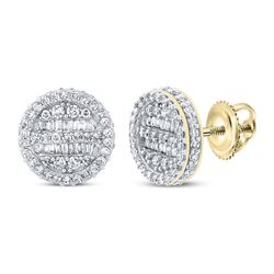 1 CTW Mens Baguette Diamond Circle Earrings 10kt Yellow Gold - REF-70V8Y