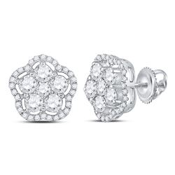 1 & 1/2 CTW Womens Round Diamond Star Cluster Earrings 14kt White Gold - REF-129A5M