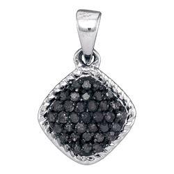 1/4 CTW Womens Round Black Color Enhanced Diamond Cluster Pendant 10kt White Gold - REF-10H3R