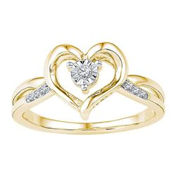 1/20 CTW Womens Round Diamond Solitaire Heart Ring 10kt Yellow Gold - REF-17N3A