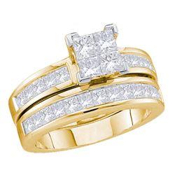 2 CTW Princess Diamond Bridal Wedding Ring 14kt Yellow Gold - REF-190M8F