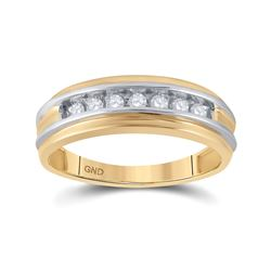 1/4 CTW Mens Round Diamond Single Row Band Ring 10kt Two-tone Gold - REF-39X5T