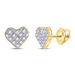 1/10 CTW Womens Round Diamond Heart Earrings 10kt Yellow Gold - REF-9T5V